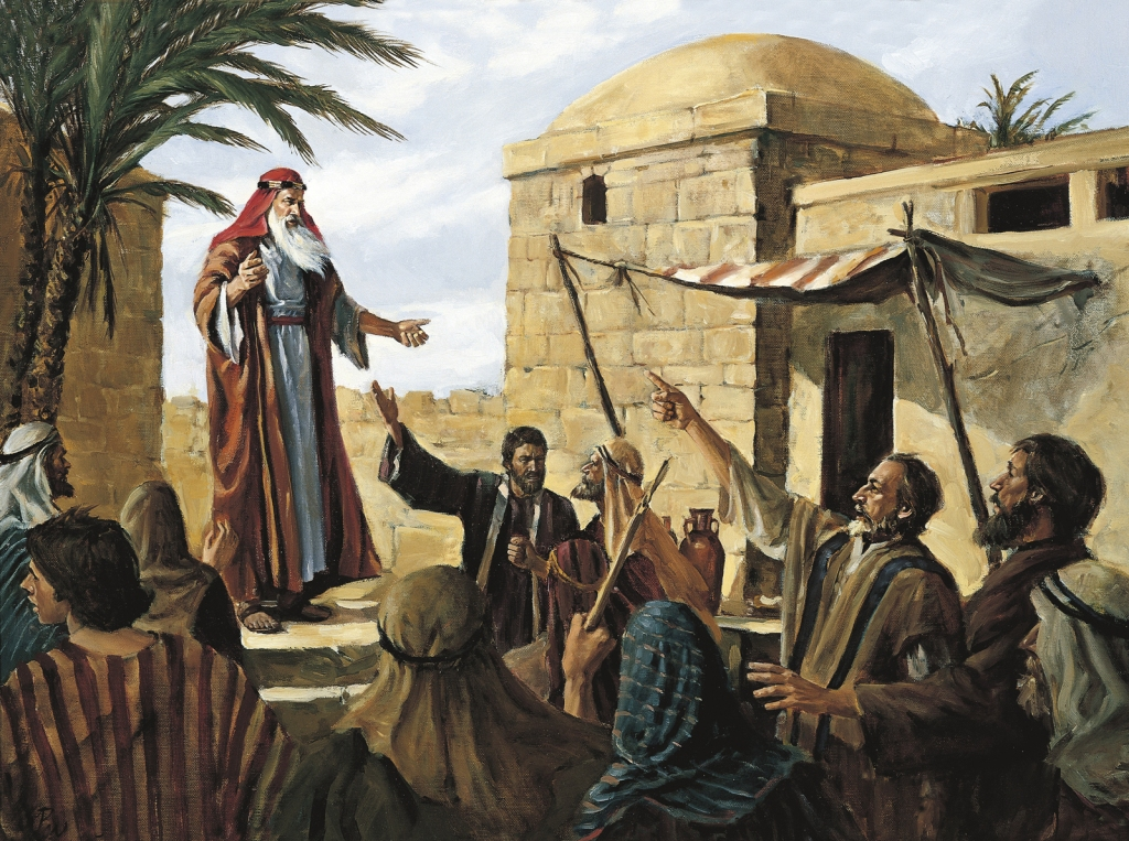 Lehi Prophesying to the People of Jerusalem (Lehi Preaching in Jerusalem), by Del Parson
